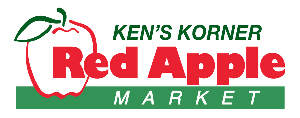 A theme logo of Ken's Korner Red Apple